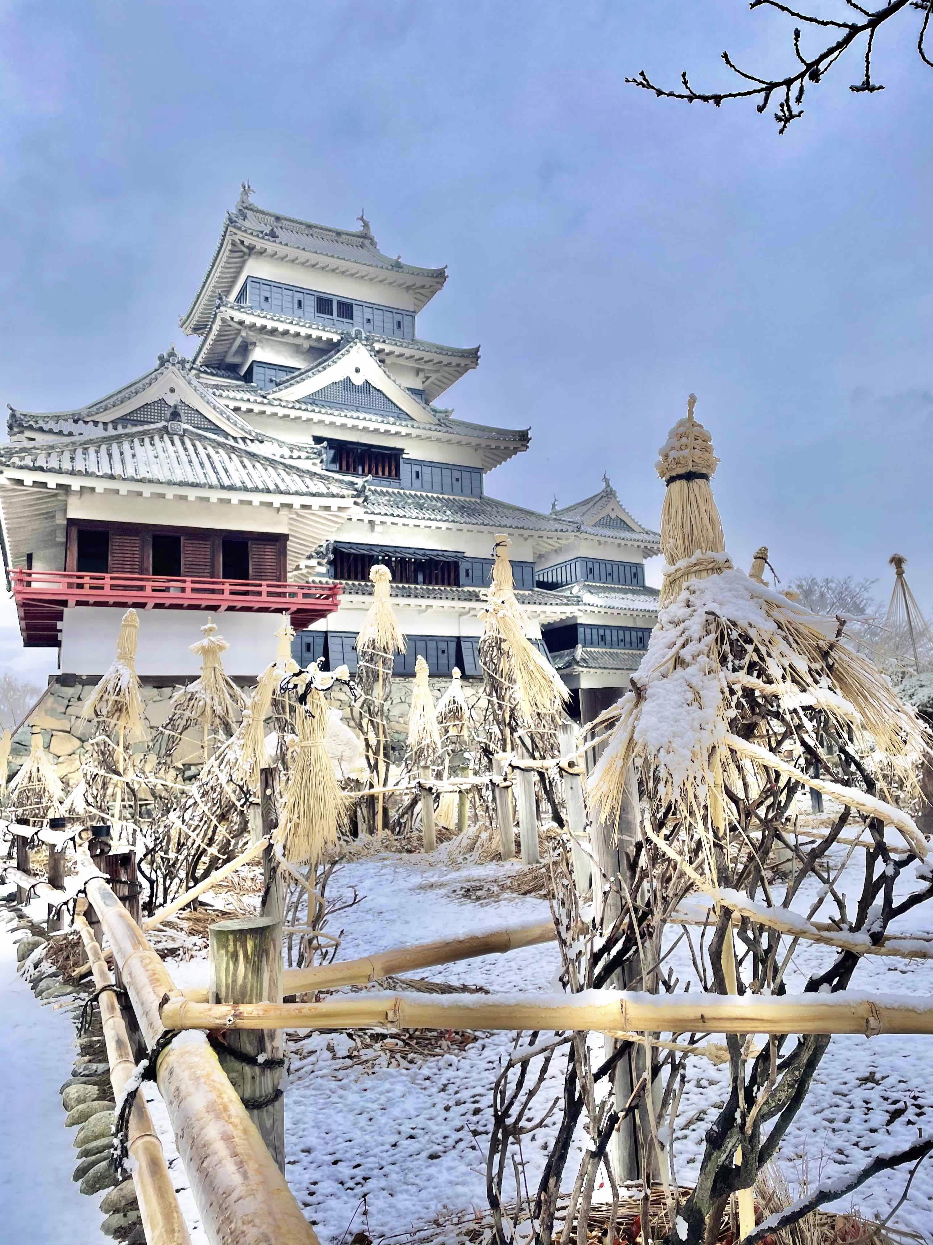 松本城の雪とわらぼっち